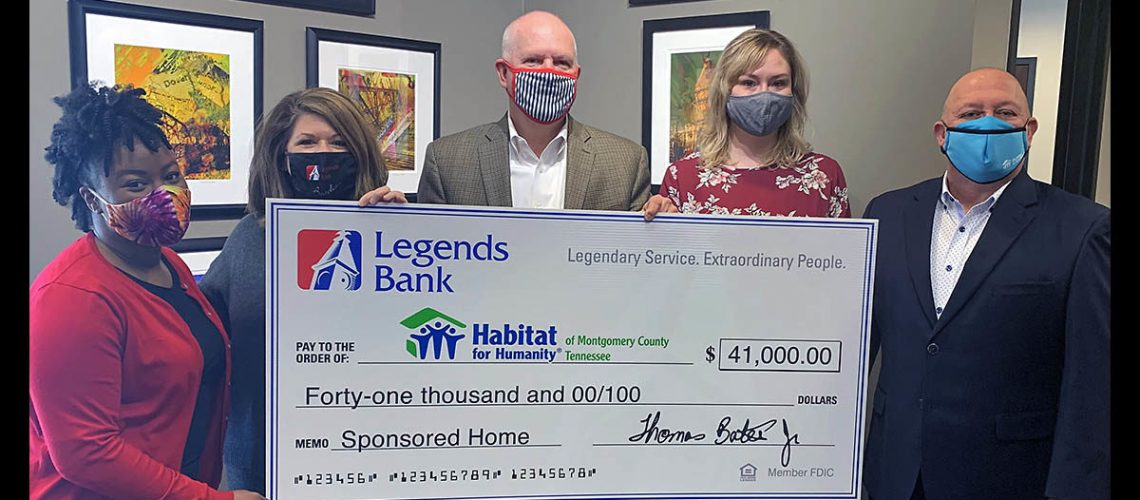 From left to right: Aminah Eyiowuawi, Amelia Magette, and Tommy Bates (Legends Bank) with Rob Selkow and Nicole June (Habitat for Humanity).